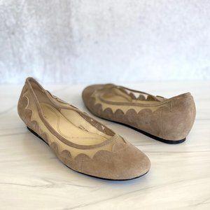 TAHARI Daisy Suede Leather Scallop Hidden Wedge
